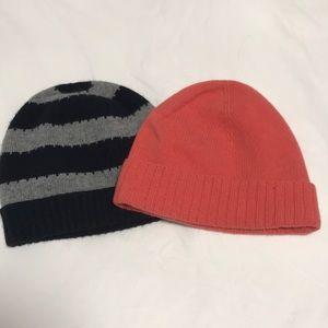 Jcrew winter hats (2 of them) pink / gray & black